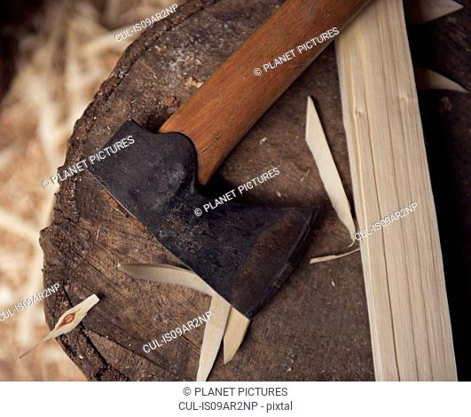 Woodworking axe, close-up