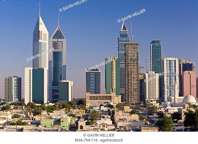 Elevated view of the new Dubai skyline of modern architecture and skyscrapers along Sheikh Zayed Road, Dubai, United Arab Emirates, Middle East