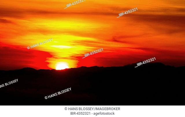 Sunset over Hollywood Hills, Los Angeles, Los Angeles County, California, USA