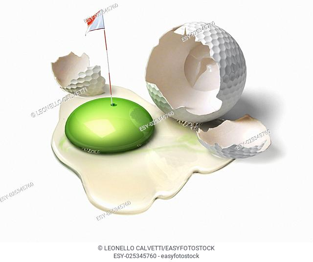 Golf ball as a broken egg with green yolk, representing the game field with hole and flag