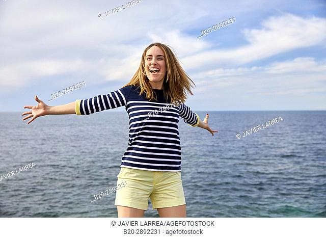 Young girl, Port of Guethary, Aquitaine, Pyrenees Atlantiques, Basque Country, France, Europe