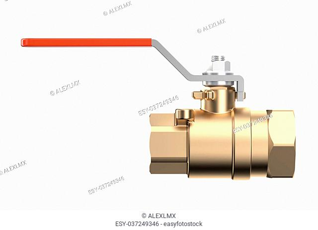 red ?oupling Ball Valve isolated on white background