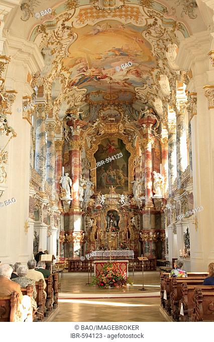 Wies Church, pilgrimage church of the scourged Savior, County Steingaden, Pfaffenwinkel, Bavaria, Germany, Europe