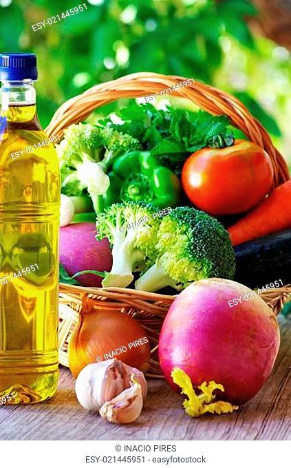 Full basket of vegetables