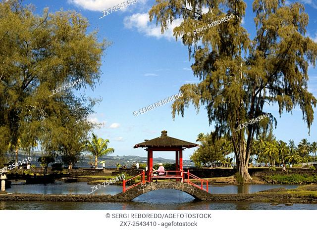 Japanese-style garden Lili'uokalani Park in Hilo. Big Island. Hawaii. USA. From Coconut Island one has a great view of Hilo Bayfront, Downtown Hilo