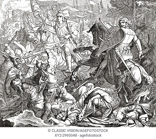 Otto I the Great at The Second Battle of Lechfeld, 10 August 955. Otto I, 912 - 973, aka Otto the Great. German king and Holy Roman Emperor