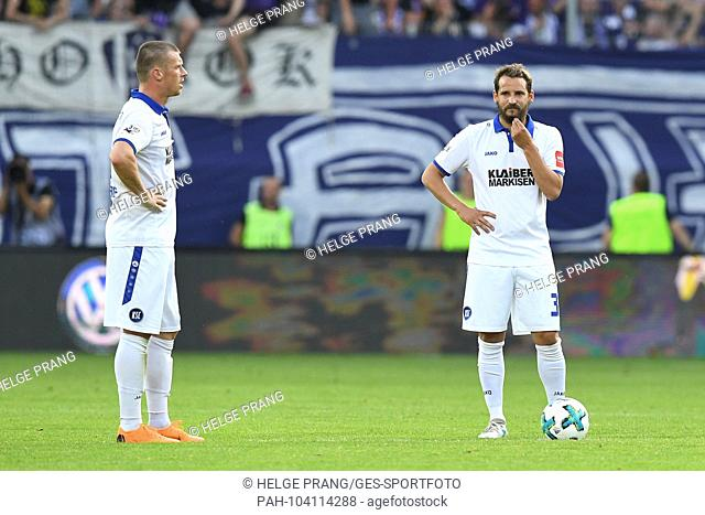 frustrated at MARVIN POURIE (KSC) AND ANTON FINK (KSC) after the 3: 1. GES / Football / Relegation: FC Erzgebirge Aue - Karlsruher SC, 22.05