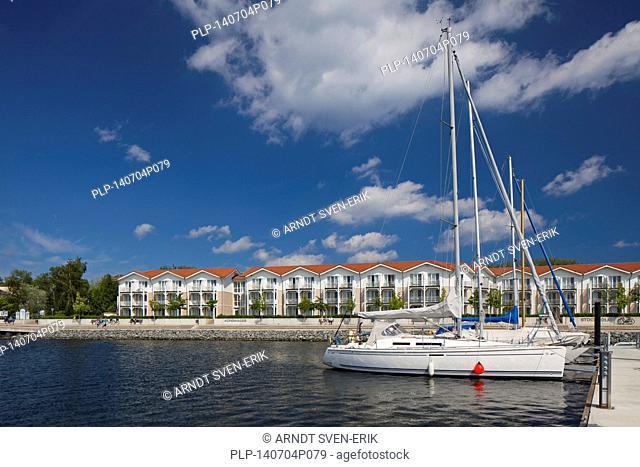 Sailing boats docked in marina of the holiday resort Weisse Wiek / Weiße Wiek at Boltenhagen, Mecklenburg-Vorpommern, Germany