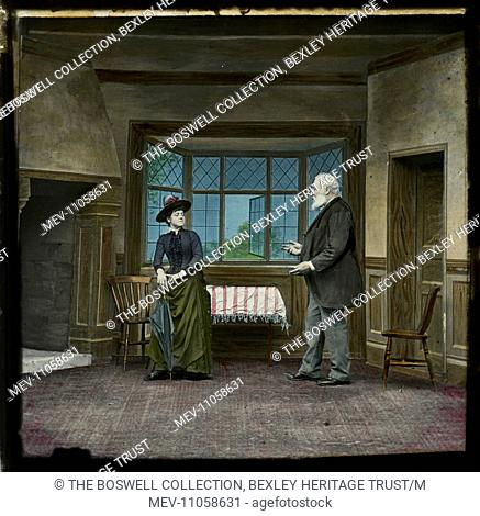 Level Crossing - 3 - Man & woman talking in empty room. Part of Box 52 Boswell collection. Nursery Rhymes
