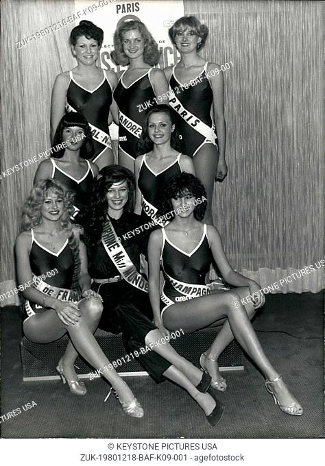 Dec. 18, 1980 - Seven of the fifty finalists who will compete for the coveted title of Miss France, December 29th in Paris