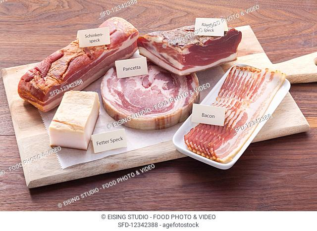 Various types of ham and bacon (raw, smoked, green)