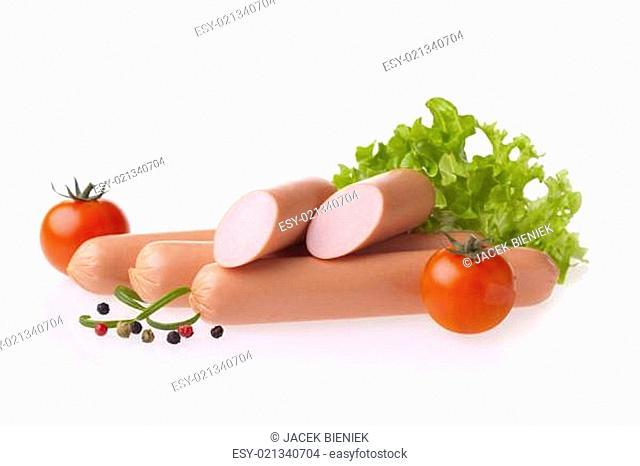Fresh hot dog sausage