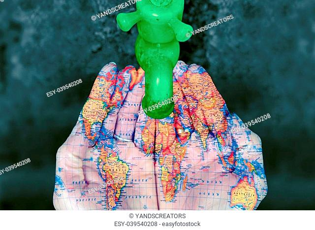 Plastic Water Tap with human palms printed with World Map Concept