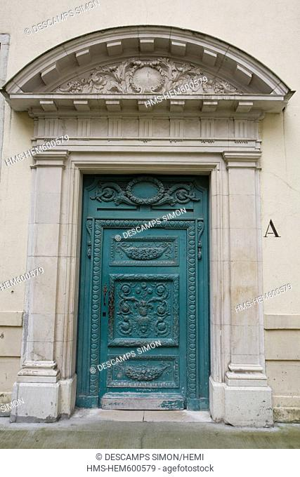 France, Isere, Grenoble, Stendhal High School, the door of the old Jesuits' College