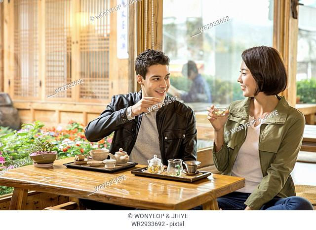 Young smiling couple having a date