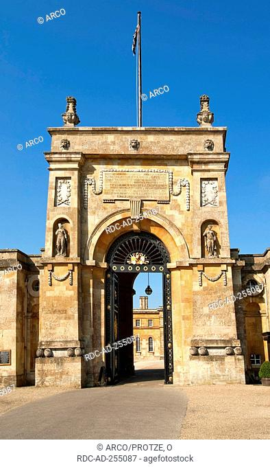 Entrance gate to Blenheim Palace near Oxford England