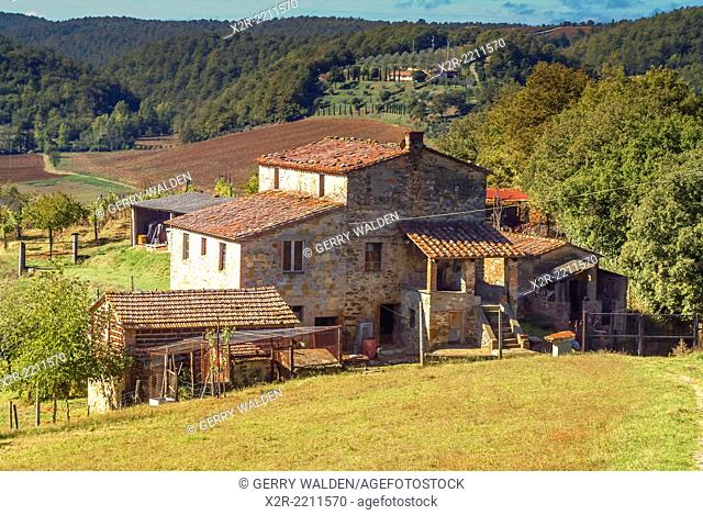 Typical farmhouse nestling in the Umbrian hills of Italy