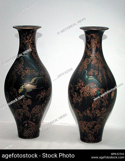Pair of vases. Date: mid-19th century; Culture: British; Medium: Black lacquered, gilded and painted papier-mâché; Dimensions: Height (each): 19 3/4 in