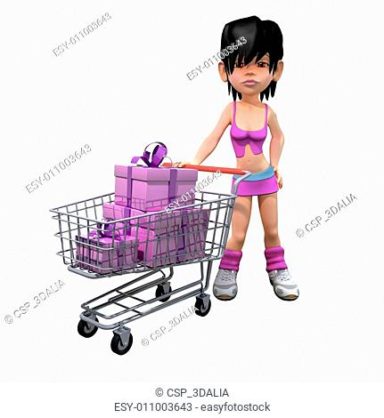 3d Girl has gone shopping with her trolley