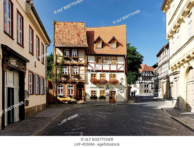 Half-timbered houses in Hohe Strasse, Quedlinburg, Saxony-Anhalt, Germany