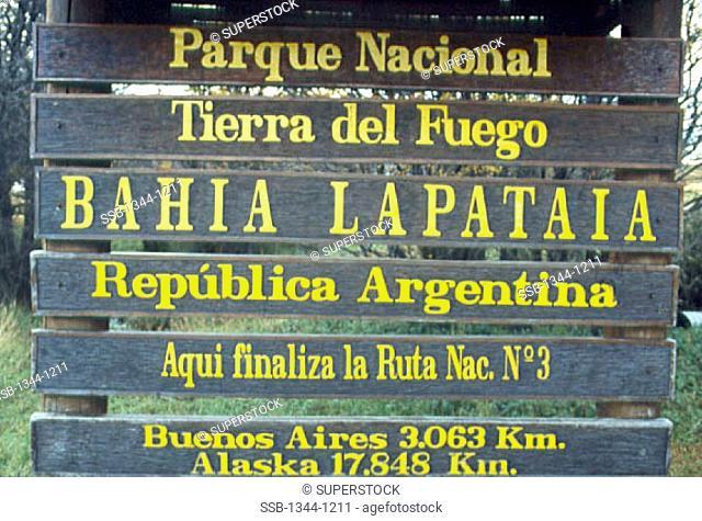 Close-up of a sign, Tierra del Fuego National Park, Tierra del Fuego, Argentina