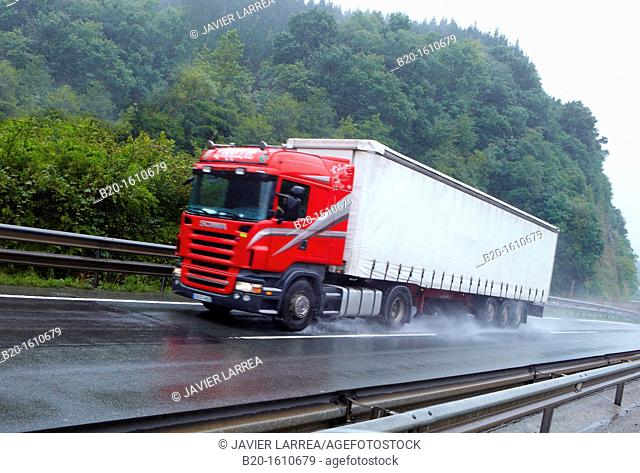 Truck, transport, Highway N1,Tolosa, Gipuzkoa, Basque Country, Spain