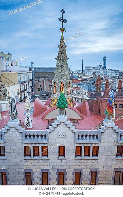Rooftop of Palau Guell, Barcelona, Catalonia, Spain