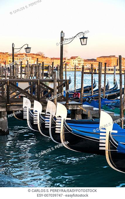 Gondolas moored on the Piazza San Marco in the Italian city of Venice