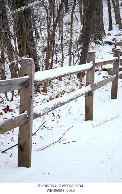A snow covered fence along a path in the forest