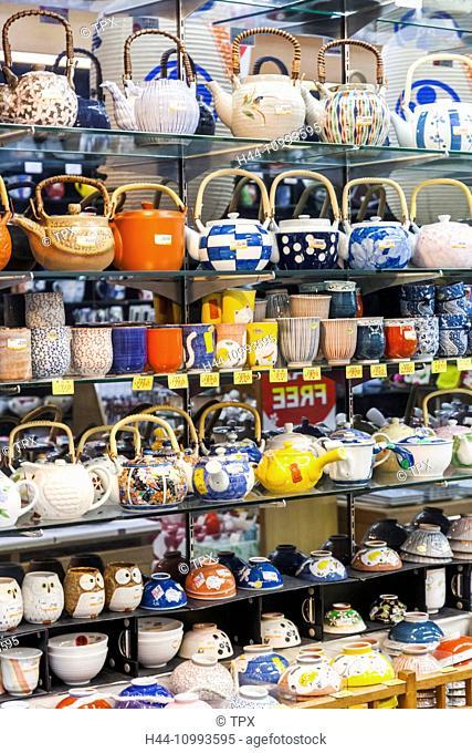Japan, Honshu, Tokyo, Asakusa, Shop Display of Teapots