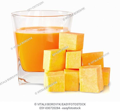 Pumpkin Diced And A Glass Of Pumpkin Juice Isolated On White Background