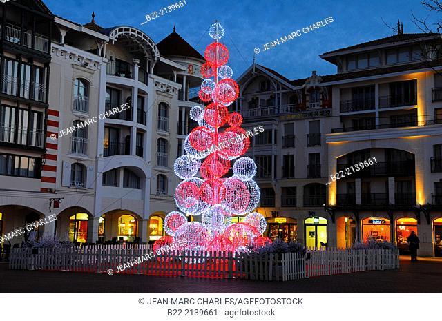 Christmas decorations, Arcachon, Gironde, Aquitaine, France