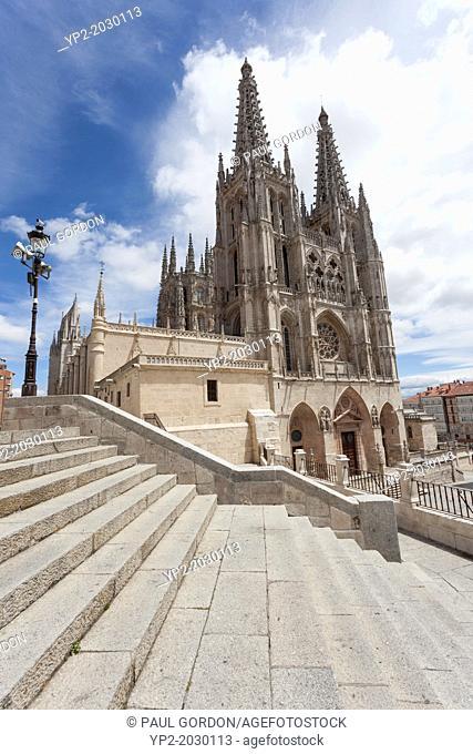 Burgos Cathedral from Plaza Santa María - Burgos, Burgos Province, Castile and León, Spain