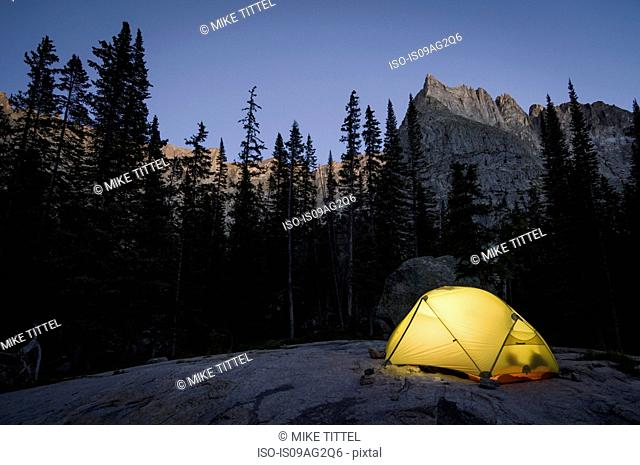Camping near Crater Lake at the base of Lone Eagle Peak, Indian Peaks Wilderness, Colorado, USA