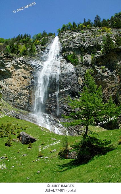 View of waterfall, Fallbach, Kaernten, Maltatal, Austria