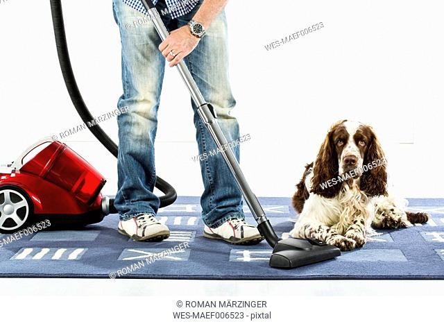 Mature man cleaning carpet with vaccuum cleaner while dog sitting