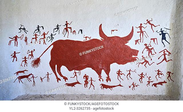 Recontructed fresco of an original found at Catalhoyuk. The men are hunting a boar. The hunters are believed by scholors to be wearing leopard skin costumes