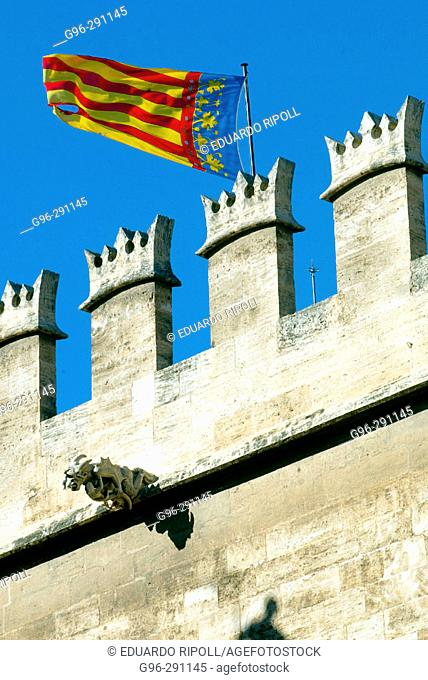 Gothic Lonja de la Seda ('Silk Exchange', 15th century), detail of facade. Valencia. Spain