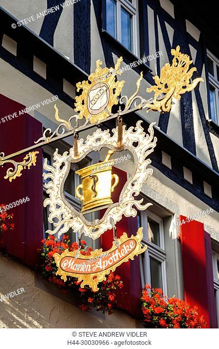Germany, Bavaria, Romantic Road, Rothenburg ob der Tauber, Traditional Pharmacy Sign