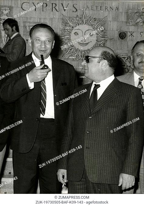 May 05, 1973 - New Cypriote president Glaykos Clerideis with the chief negotiator of the Turish Cypriots Raouf Dektas. Photo from files