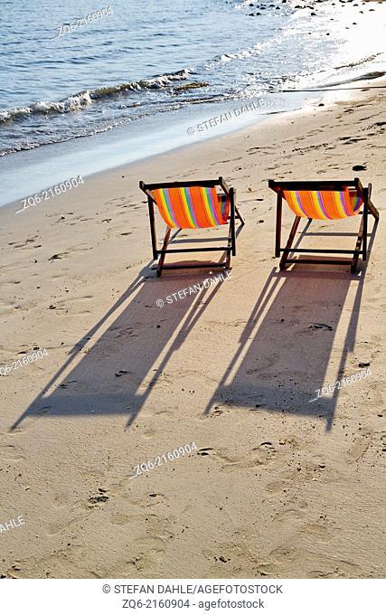 Deck Chairs on Klong Koi Beach on Ko Chang, Thailand