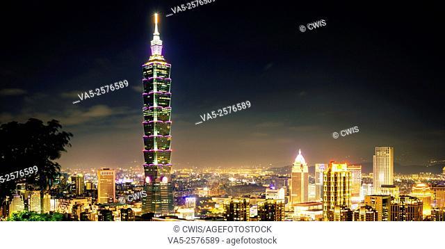 Taipei,Taiwan - Panorama of Taipei City and 101 Tower at night from Elephant Mountain