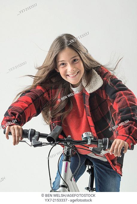 Young girl on a bike