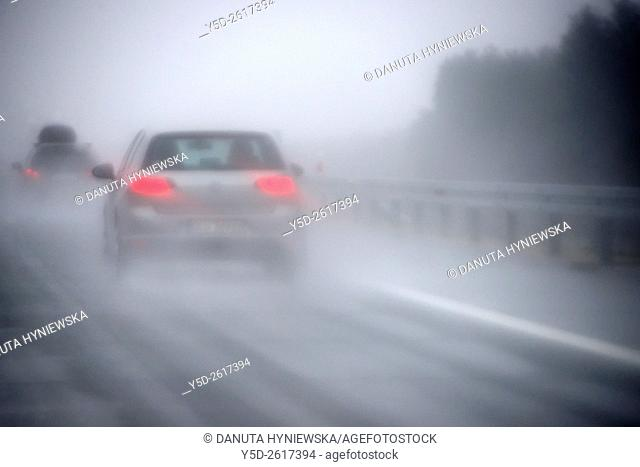 driving on highway in heavy rain, Saxony, Germany, Europe