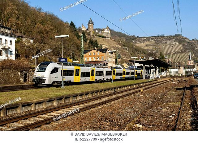 Passenger train arriving at Bacharach, Upper Middle Rhine Valley, UNESCO World Heritage Site, Rhineland-Palatinate, Germany, Europe