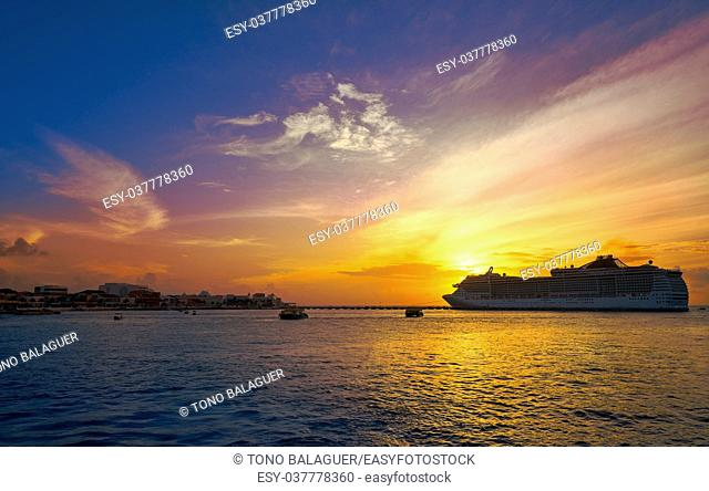 Cozumel island sunset cruise in Riviera Maya of Mayan Mexico