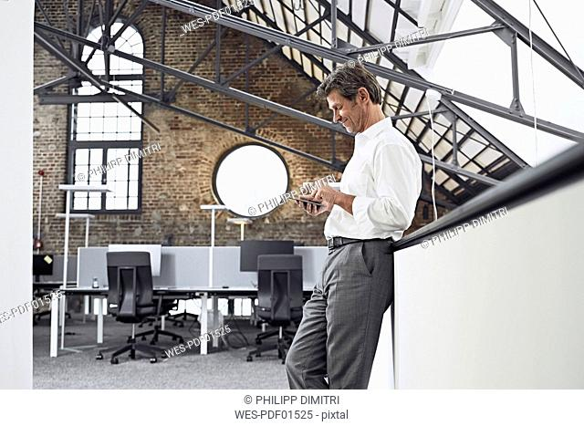 Mature businessman using smartphone in modern office