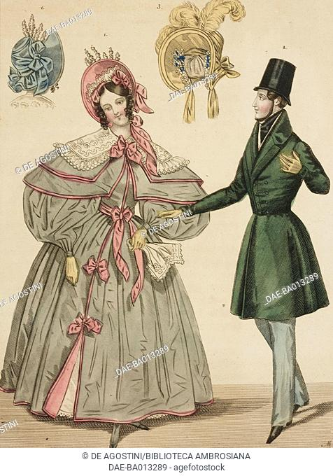Female sketch with green overcoat and hat, male sketch in walking dress and two ladies' hats, plate 15 taken from Parisien Costumes