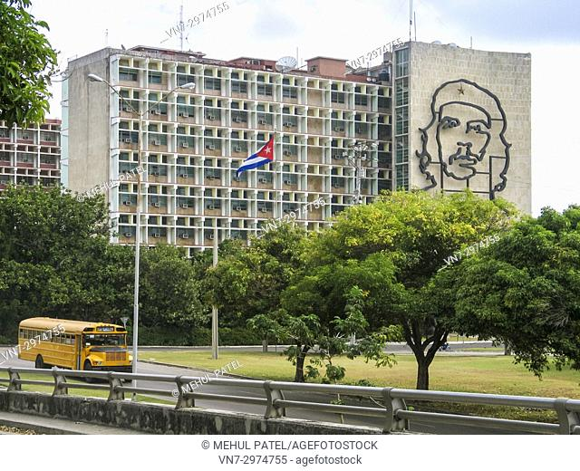 The Interior Ministry building in the 'plaza de la revolucion', Havana, Cuba featuring the iconic image of Che Guevera on its wall