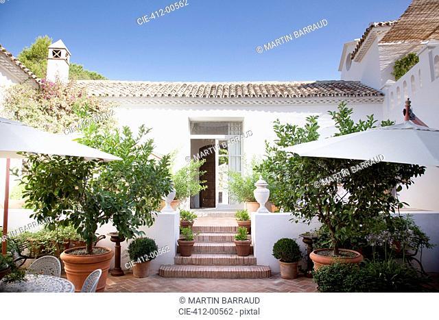 Doorway from patio into Spanish villa